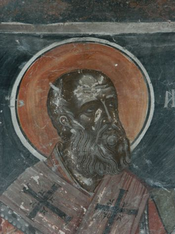 Ἱερά Μονή Βομβοκοῦ, Τοιχογραφία ἀπό τό καθολικό.